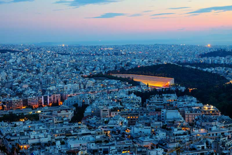 View Of The Sunset In Athens, From Lycabettus